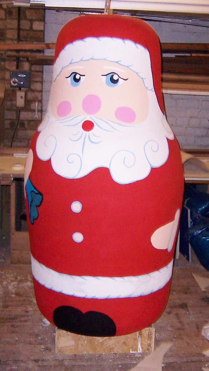 Hand painted 6' polystyrene display Santa
