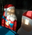 Polystyrene Santas for shop displays, hand painted