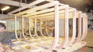 Stage boat; framework construction